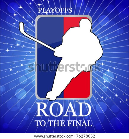 hockey player - playoff vector poster - stock vector