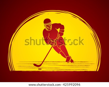 Hockey player pose designed on moonlight background graphic vector