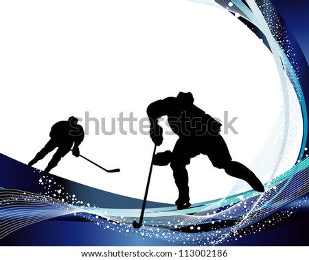 Hockey player silhouette with line background. Vector illustration. - stock vector