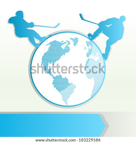 Hockey player vector background concept with planet - stock vector