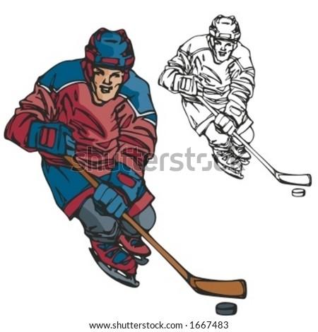 Hockey player. Vector illustration - stock vector