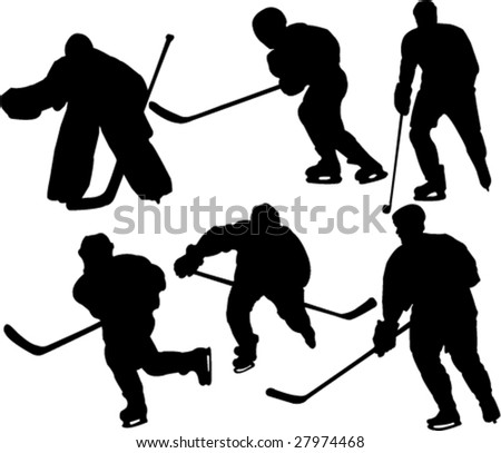 Hockey Players - Silhouettes. - stock vector