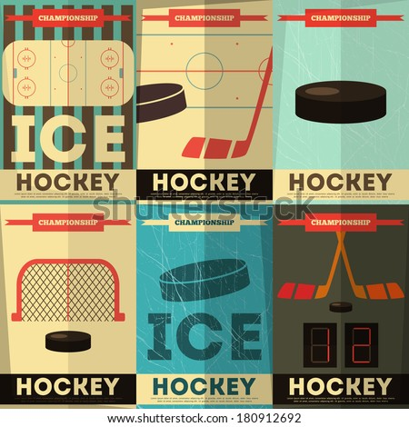 Hockey Posters Collection. Placards Set in Flat Design. Vector Illustration. - stock vector