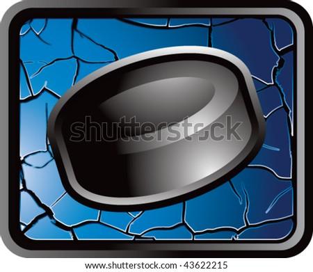 hockey puck blue cracked web button - stock vector