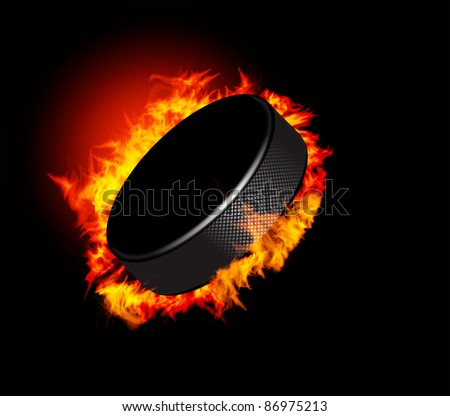 Hockey Puck in Fire isolated on Black Background. Vector. - stock vector