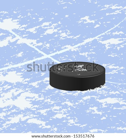 Hockey puck on ice vector - stock vector