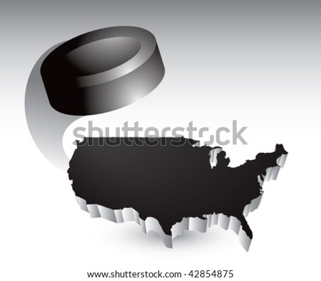 hockey puck over black united states icon - stock vector