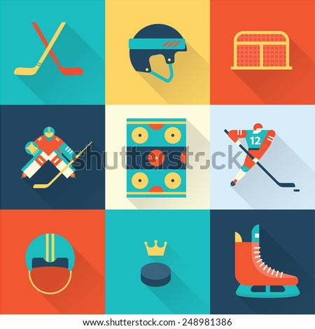 hockey sport icons - stock vector