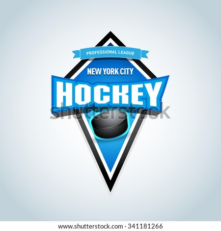 Hockey sport team logotype template. Hockey team logo template. Hockey emblem, logotype template, t-shirt apparel design. Sport badge for tournament or championship. - stock vector