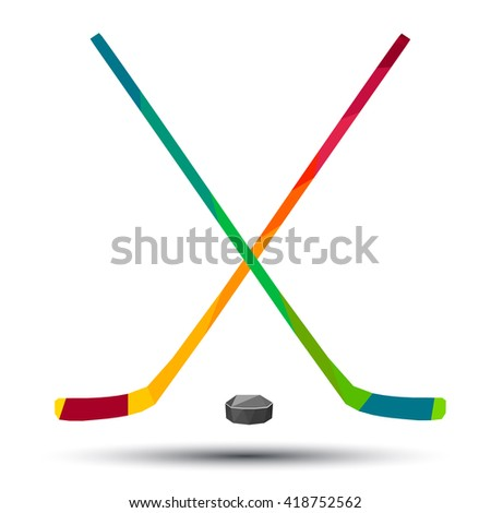 hockey stick and puck as a design logo, icon, vector, art, low poly style on a white background  - stock vector