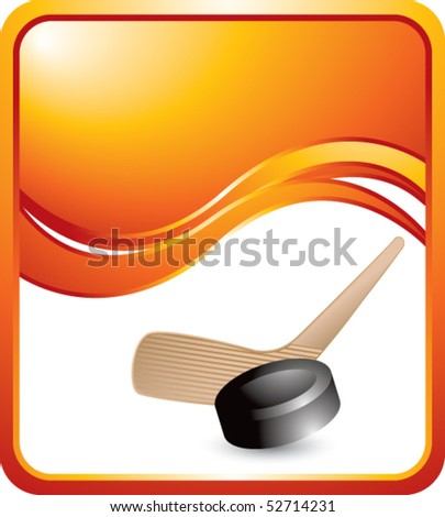hockey stick and puck orange wave background - stock vector