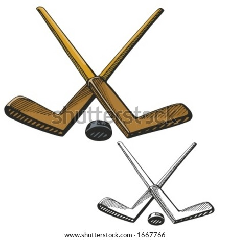 Hockey sticks and a puck. Vector illustration - stock vector