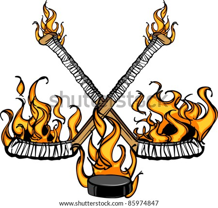 Hockey Sticks and Puck Flaming Cartoon Illustration - stock vector