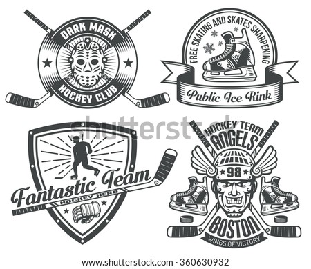 Hockey tattoos and logos with sticks, washers, skates gauntlets, masks. Text is grouped and can be easily removed. - stock vector