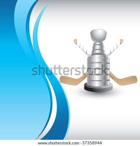 hockey trophy on vertical blue wave background