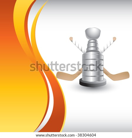 hockey trophy on vertical orange background