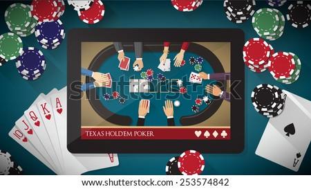 Hold'em poker mobile game app with chips, cards and digital tablet on poker tablet - stock vector