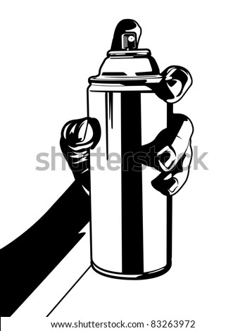 Holding a Can of Spray Paint. - stock vector