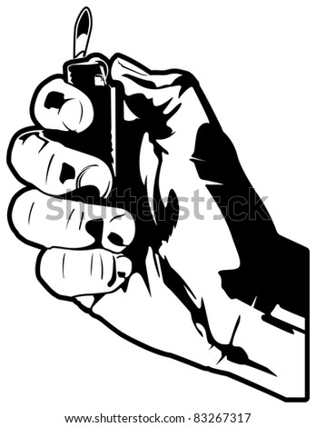 Holding a lighter. - stock vector