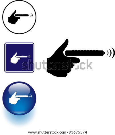 holding a remote control symbol sign and button