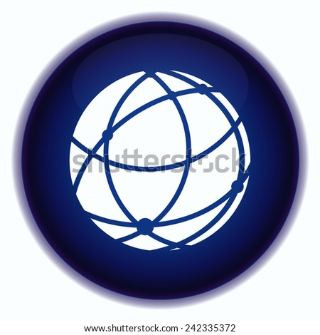 holding globe, social network icon - stock vector