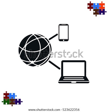 Holding globe, social network icon