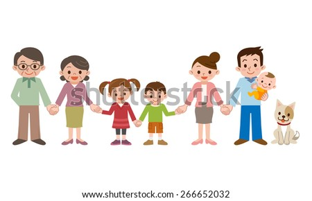 Holding Hands happy three generation family - stock vector