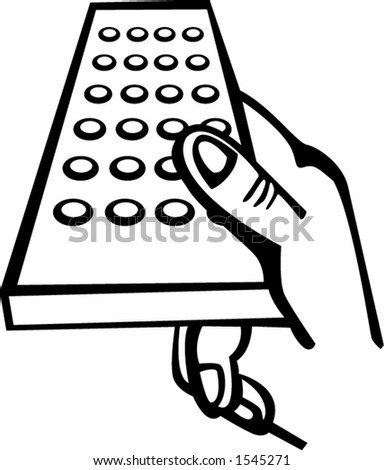 holding the remote control - stock vector