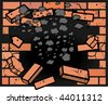 Hole in Brick Wall - stock vector
