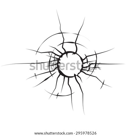 hole in glass cracked glass black and white vector