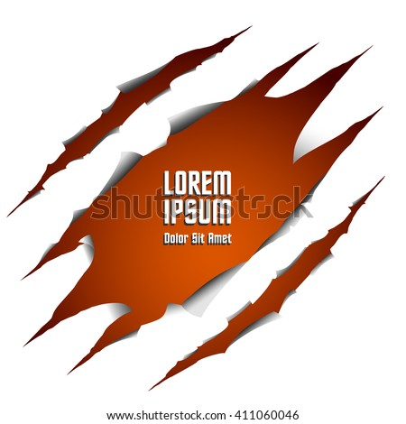 Hole in the paper with place for text - stock vector