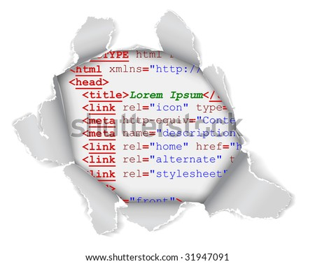 Hole in the webpage - you can see some code of the website - stock vector