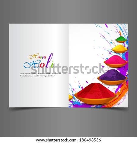 Holi beautiful presentation greeting card with colorful indian festival celebration background - stock vector