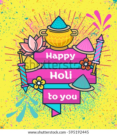 Holi indian festival colors flat thin stock photo photo vector holi indian festival of colors flat thin line greeting card banner template hindu festival linear m4hsunfo