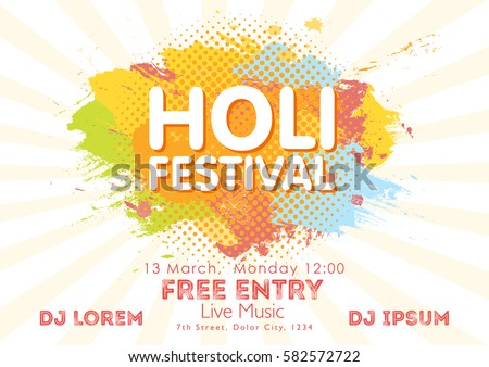 Holi spring festival colors invitation template stock photo photo holi spring festival of colors invitation template with colorful powder paint clouds and sample text stopboris Image collections