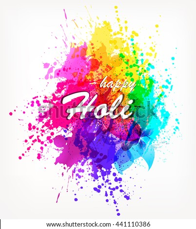 Holi spring festival . Vector background with  colorful with watercolor blots Holi - stock vector