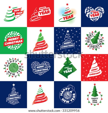 Holiday abstract vector logos for new year and Christmas - stock vector