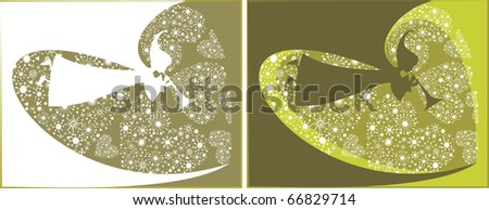 Holiday Angels with hearts background - stock vector