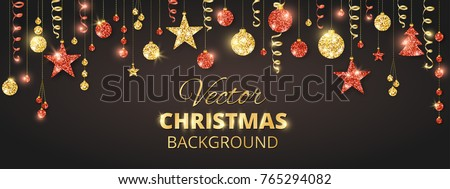 Holiday background. Christmas garland. Red and gold glitter bauble ornaments on black. Hanging ribbons and balls, tree and stars. Border frame for Christmas and New Year cards, party banners.