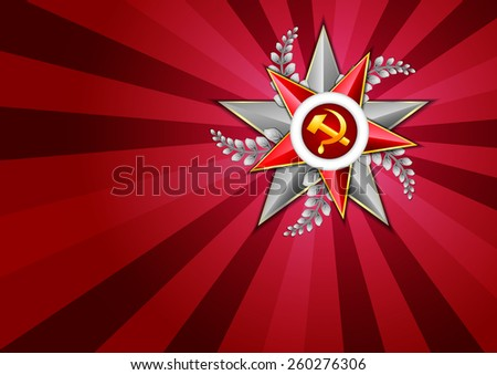 Holiday background in scarlet with Georgievsky star on Victory Day or Defender of the Fatherland day. May 9. February 23. Vector illustration