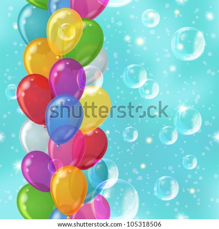 Holiday background seamless with various color balloons and white bubbles in the blue sky. Vector eps10, contains transparencies - stock vector