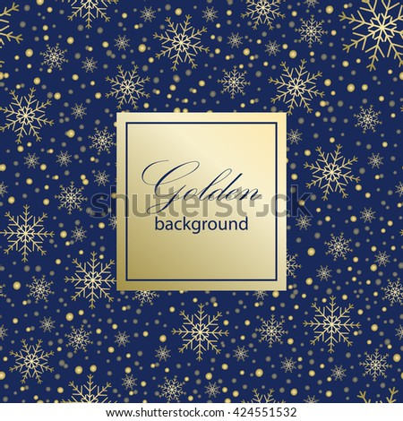 Holiday background, snowflake pattern, Christmas Decoration, winter background with snowflakes. Gold pattern. Vector illustration. - stock vector
