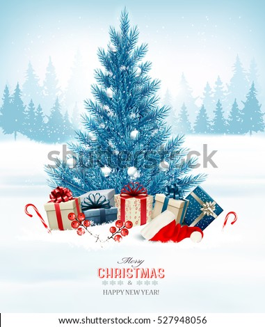 holiday background with a blue christmas tree and presents with santa hat vector - Blue Christmas Trees