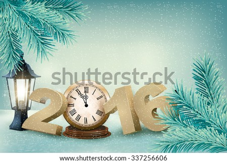 Holiday background with a 2016 made with a clock. Vector. - stock vector