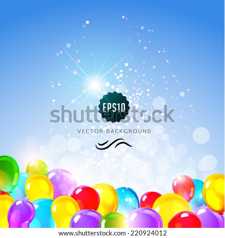Holiday background with balloons. Birthday party design. Vector illustration - stock vector