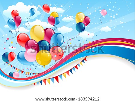 Holiday background with balloons with place for text - stock vector