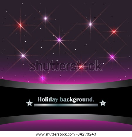 Holiday background with banner and sparkling stars. vector. - stock vector