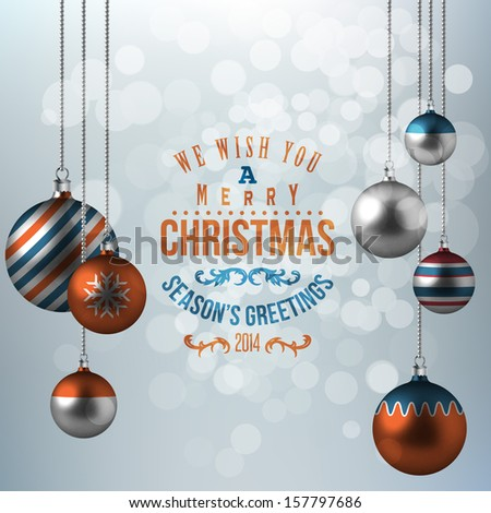 Holiday background with christmas balls  - stock vector