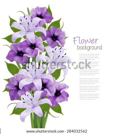 Holiday background with colorful beautiful flowers. Vector illustration - stock vector