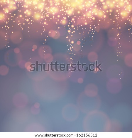 holiday background with festive descending lights and bokeh - stock vector